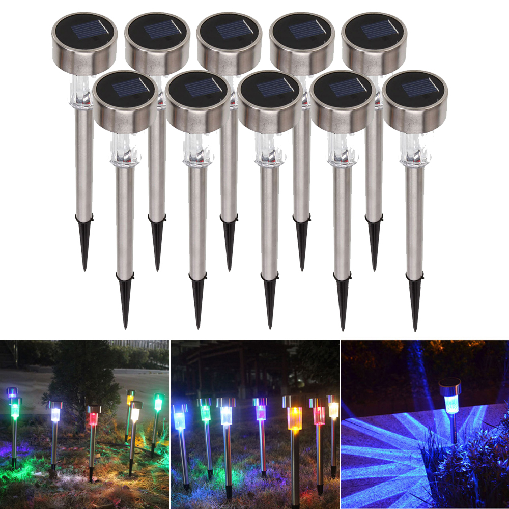 10pcs Outdoor Stainless Steel Led Solar Landscape Light Lawn Pathway Wiring Lights Garden Lamp